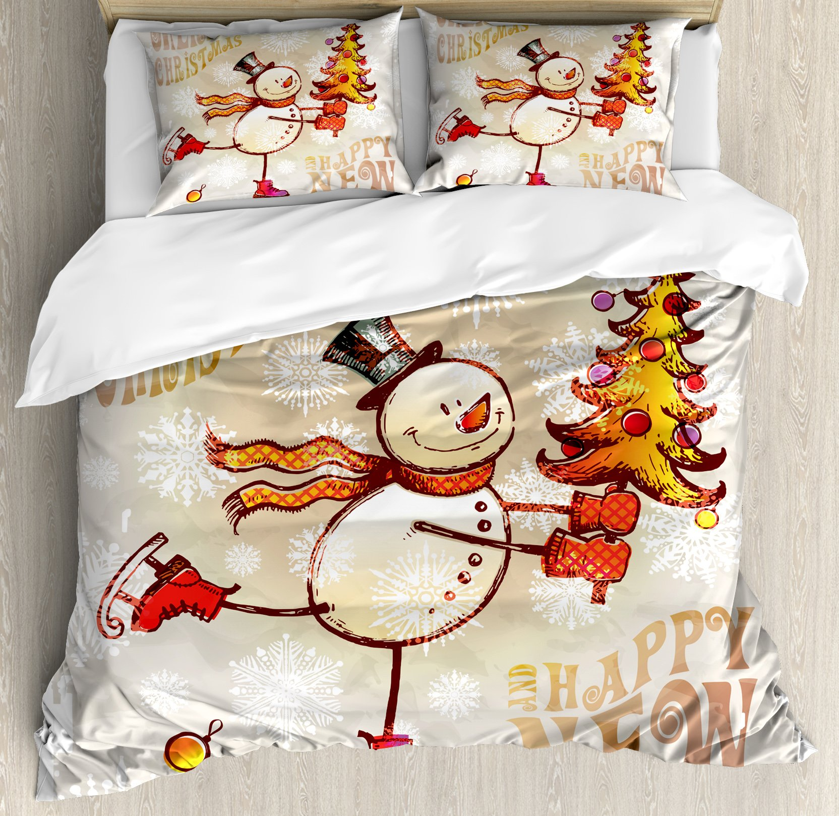 Christmas Queen Size Duvet Cover Set by Ambesonne, Skating Happy Snowman with Christmas Tree Cheerful Hand Drawn Ornate Snowflakes, Decorative 3 Piece Bedding Set with 2 Pillow Shams, Multicolor