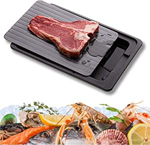 Thawing Tray for Frozen Food, Eco-friendly Rapid Defroster, Quick Safe Food Defroster Thawing Board for Faster Defrosting Meat Pork Beef Fish (Black Plate with Drip Tray)