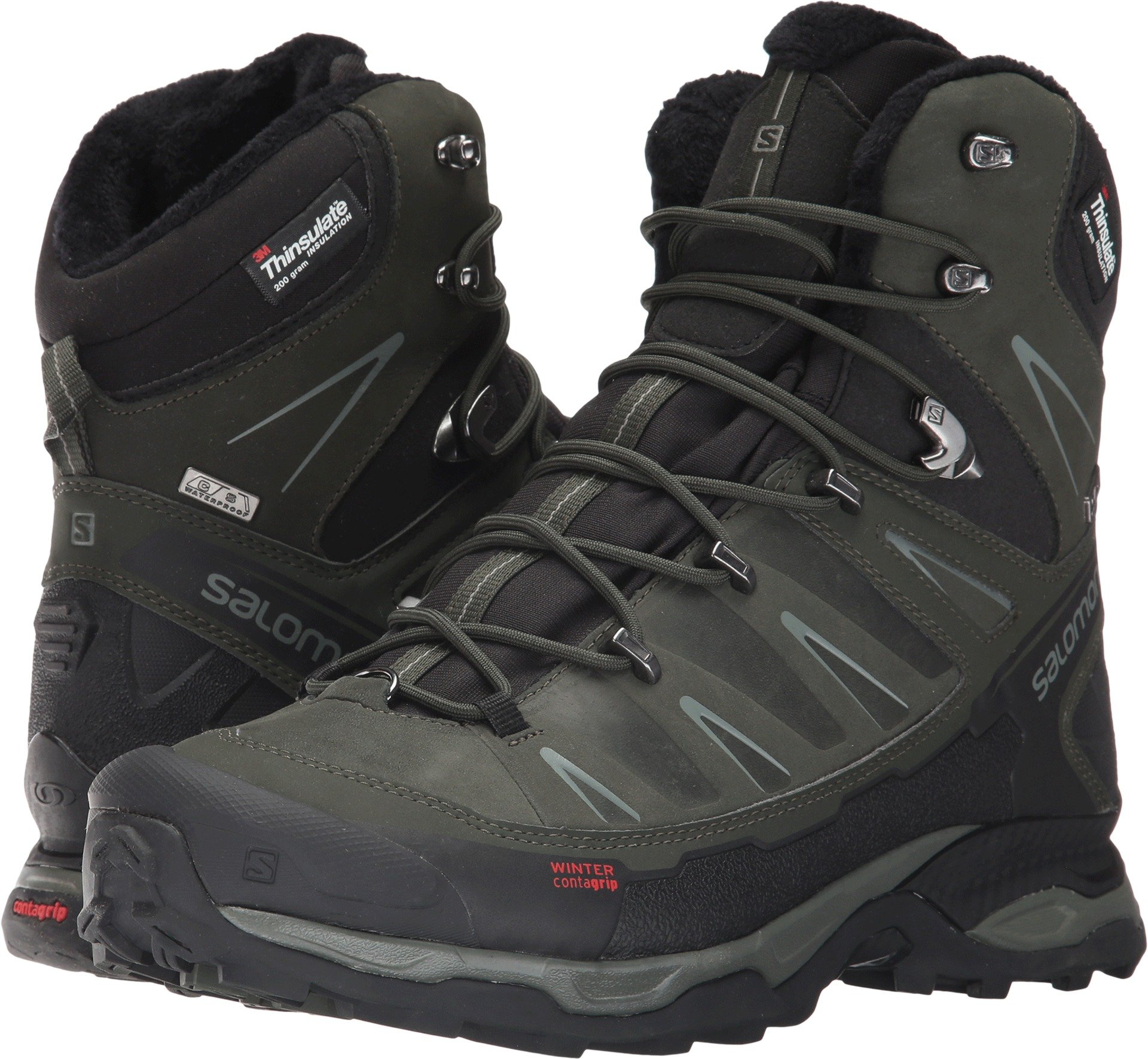 Salomon Men's X Ultra Winter CS Waterproof Snow Boot, Black/Rosin/Castor Gray, 11 M US