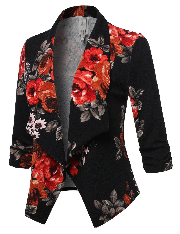 Awesome21 Stretch 3/4 Gathered Sleeve Open Blazer Jacket Black Red Pink Size XL