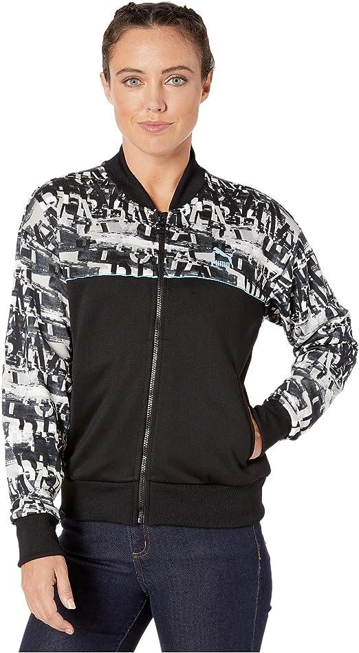 PUMA Womens Classics Printed Track Jacket, Blackpuma White-Milky ...