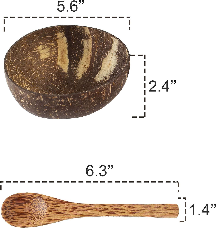 batido Cuenco org/ánico vegano para ensalada buda para cocina comedor y decoraci/ón Juego de cuencos de coco y cuchara de madera