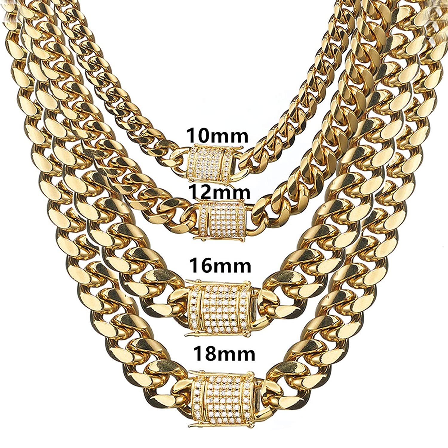 Daesar Men Chain Necklace Stainless Steel Chain Curb Necklace Gold