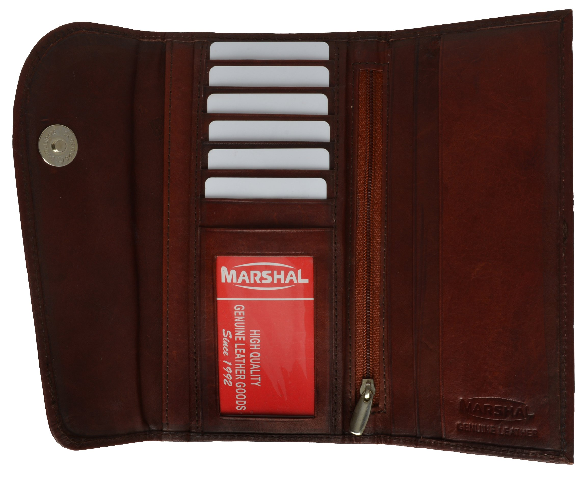 Ladies Checkbook Style Leather Wallet Purse Clutch by Marshal
