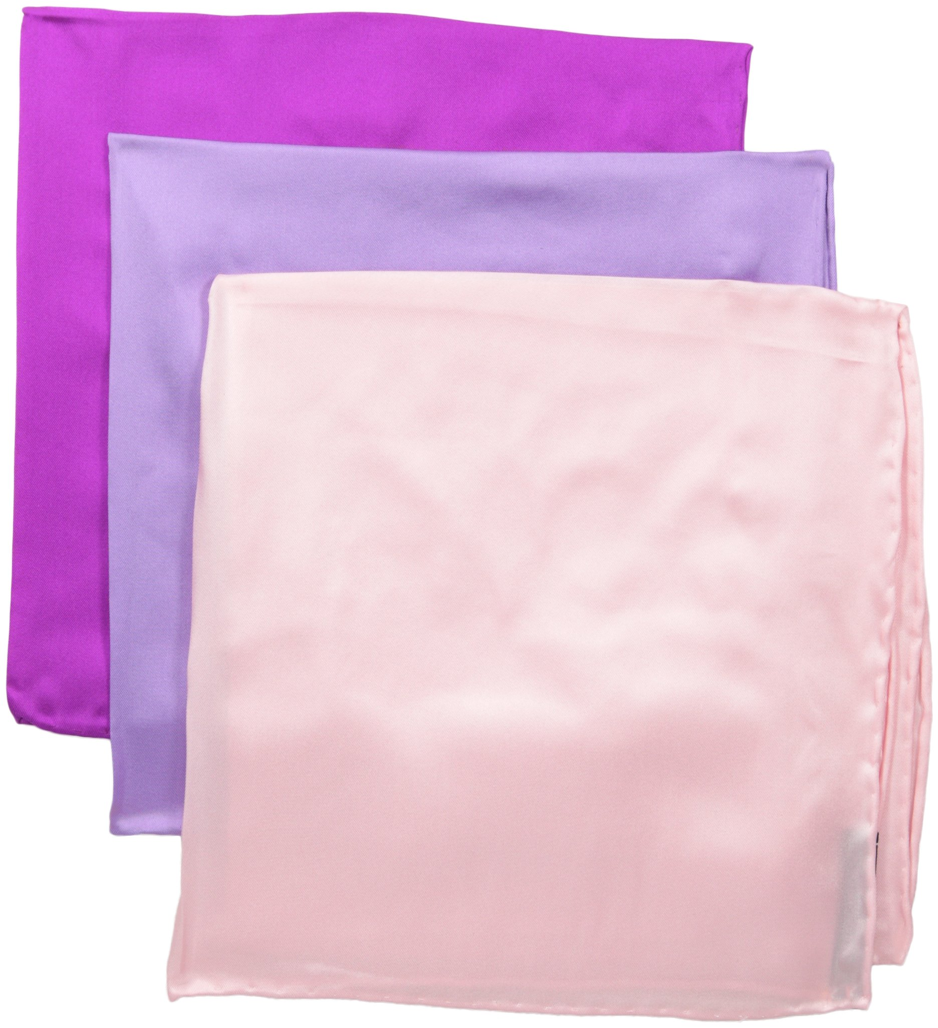 Stacy Adams Men's 100% Silk Hand Rolled 17''x 17'' Pocket Square Three Piece Set, Lilac-Pink-Fushia One Size