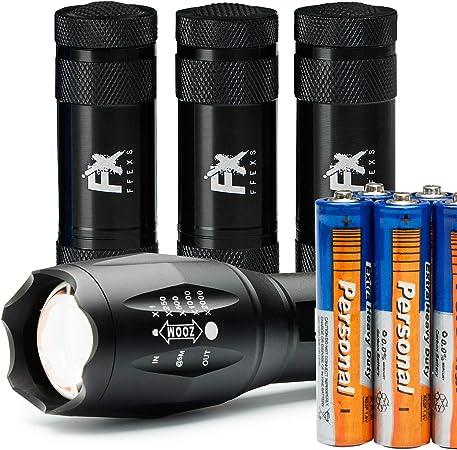 4 Pack de petites puissant 12 LED Aluminium Torche torches /& 12 piles AAA