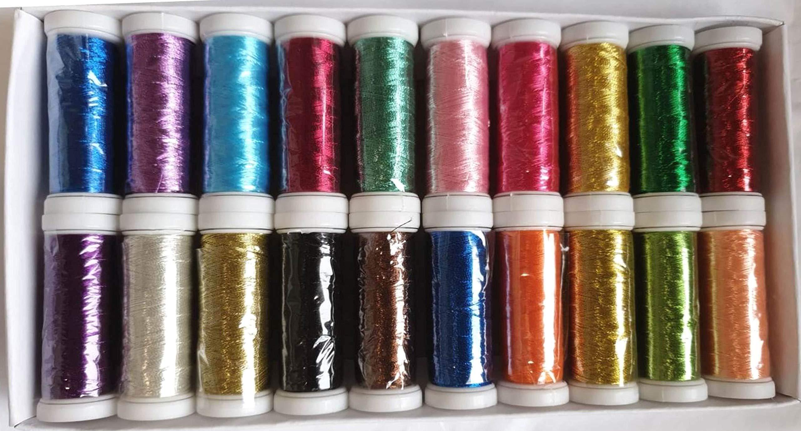 GCS 20 Metallic Embroidery Machine Thread Spools; 20 200 METERS EACH