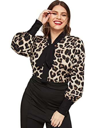 3dd5fbc74dd78 Romwe Women s Plus Elegant Bishop Sleeve Cheetah Print Tie Neck Chiffon  Blouse Top Shirts Cheetah 1XL