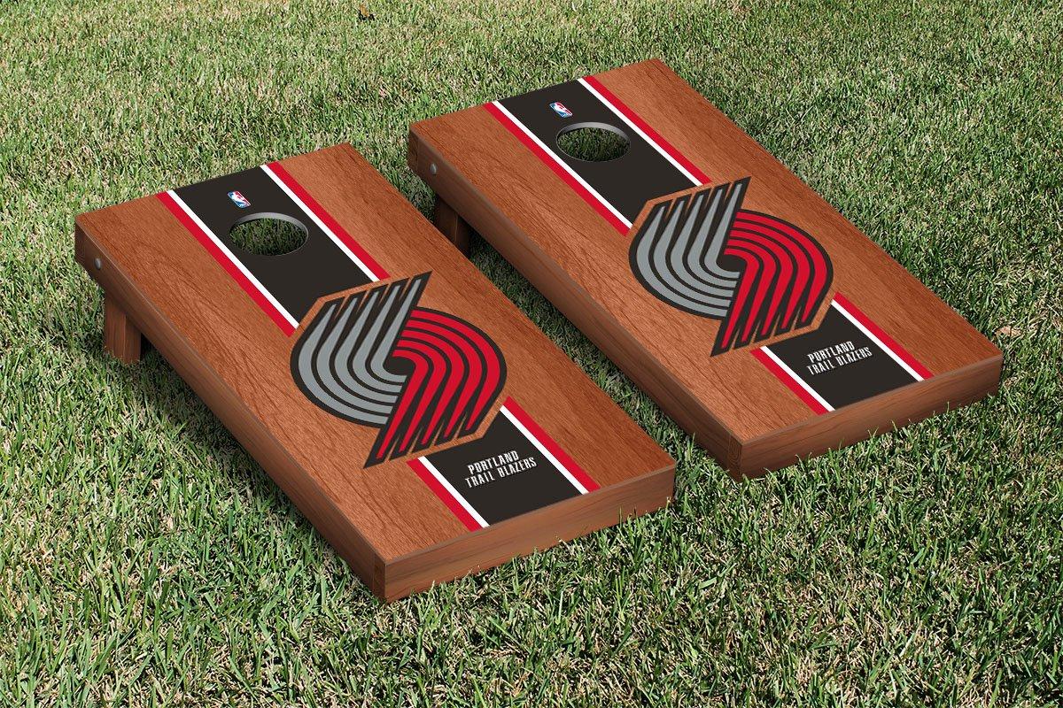 Portland Blazers Trailblazers NBA Basketball Cornhole Game Set Rosewood Stained Stripe Version by Victory Tailgate
