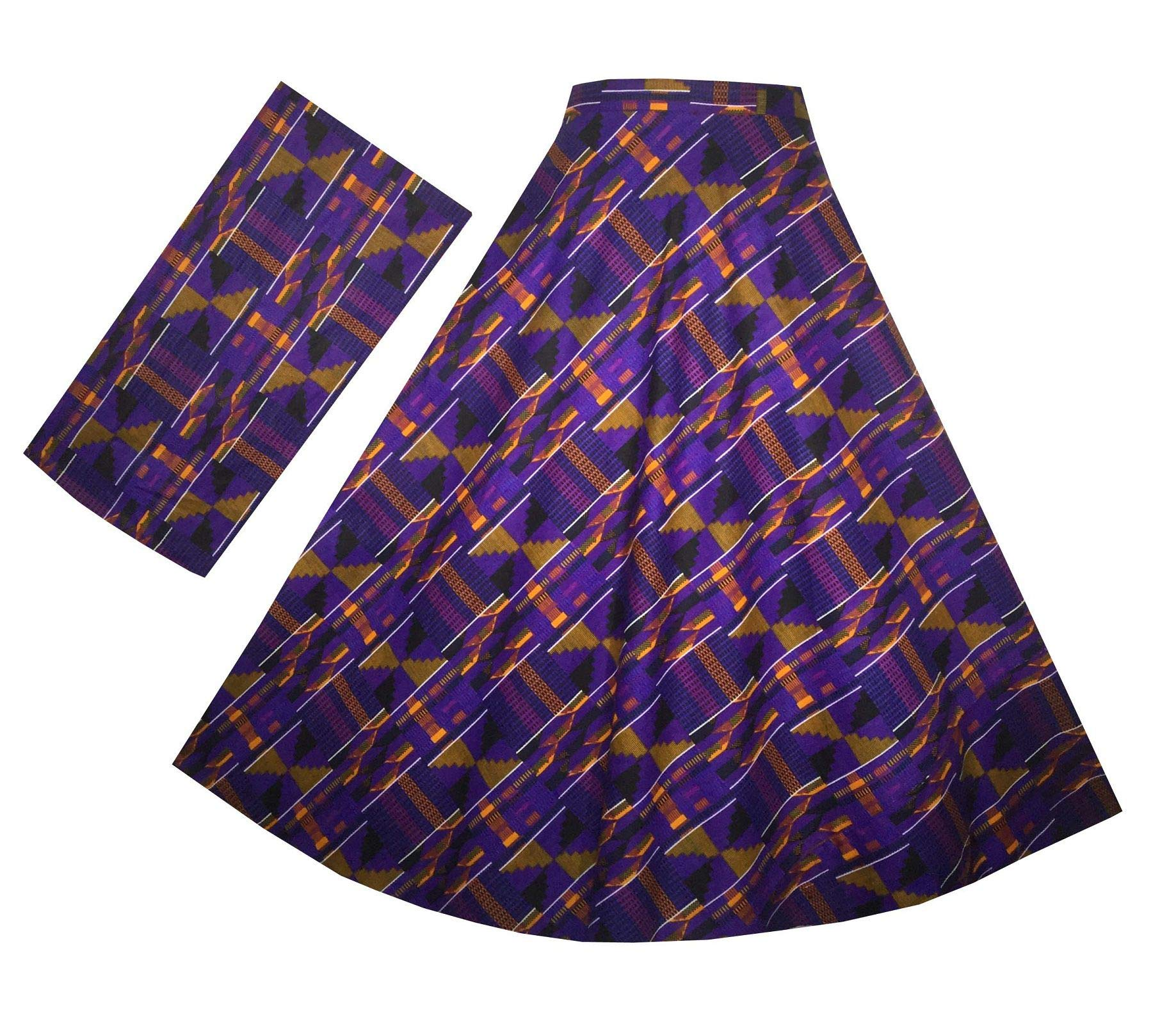 Decoraapparel Womens Wrap Around Skirt African Dashiki Ankara Maxi One Size (Purple Orange P03)