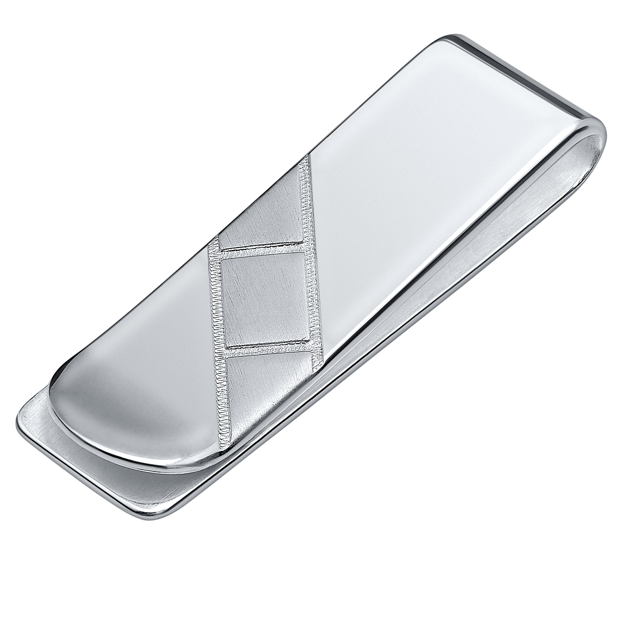Sterling Silver .925 Solid Design Engravable Hand Polished Money Clip, Designed and Made In Italy. By Sterling Manufacturers
