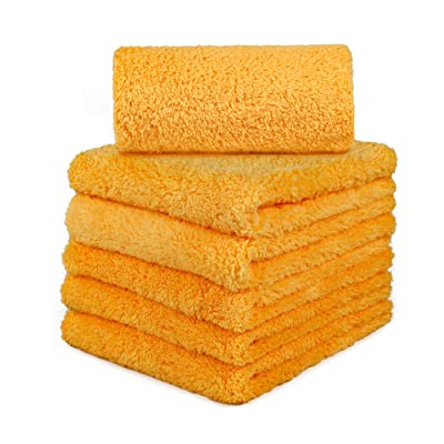 CARCAREZ Edgeless Microfiber Towels, Professional 70/30 Blend 450 GSM Dual-Pile Super Plush Microfiber Auto Detailing Towel, 16x16 inch, Pack of 6 (Yellow): Automotive
