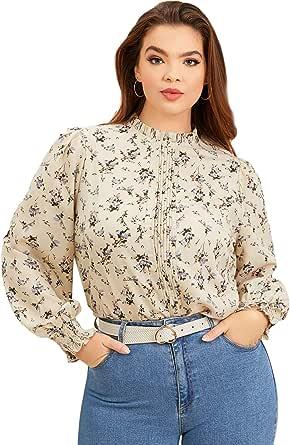 Romwe Women's Plus Size Floral Long Sleeve Frill Mock Neck Elegant Blouse Tops
