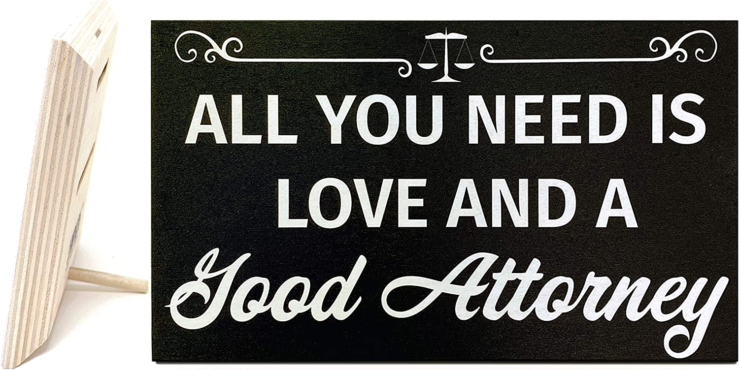 JennyGems All You Need is Love and A Good Attorney | Lawyer Plaque | Attorney and Lawyer Gifts | Law Student Gift | Gifts for Attorney | Lawyer Sign | Lawyer Gifts | Made in USA
