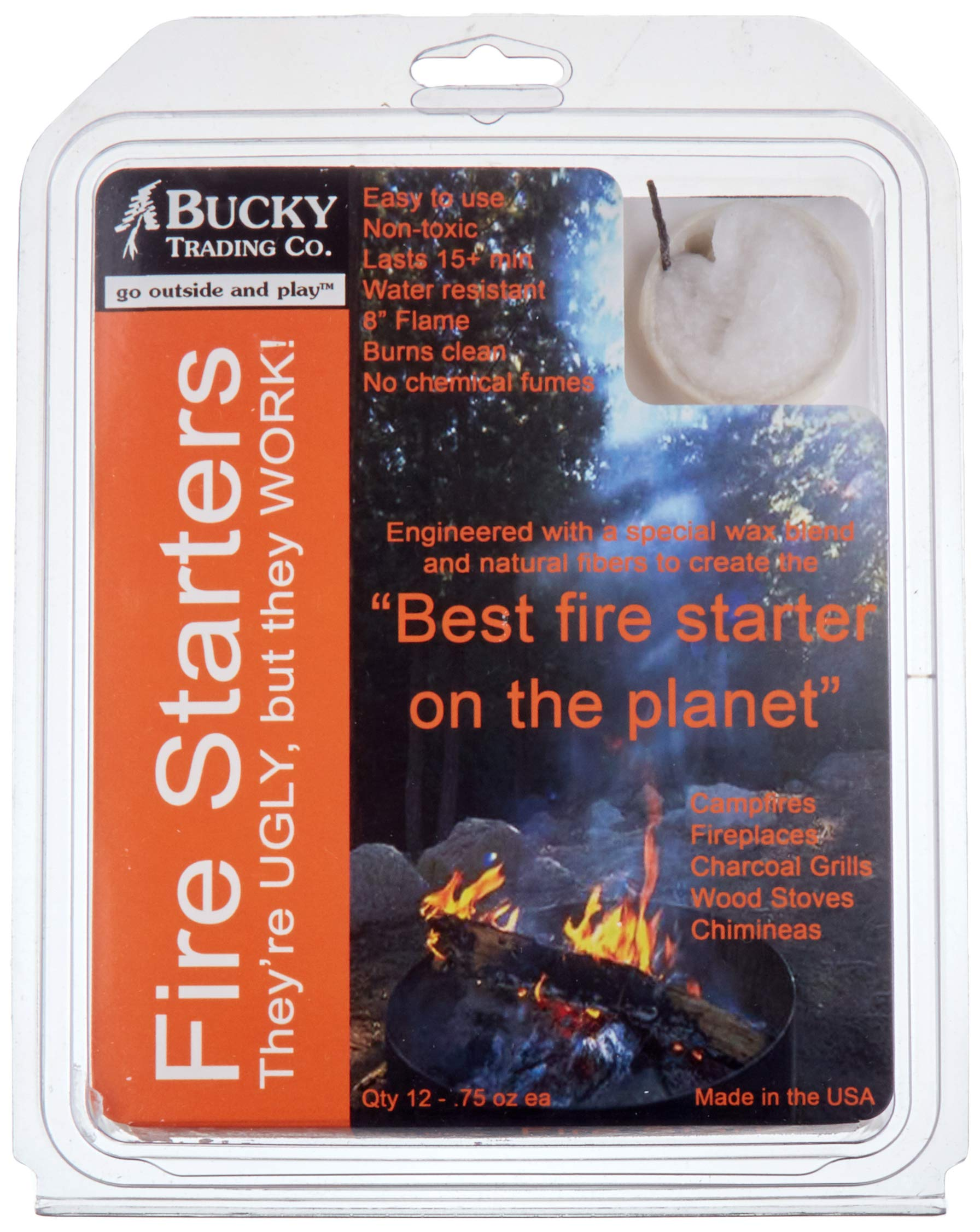 Bucky Fire Starters (Qty: 12)''Best Fire Starter on The Planet! All Natural Starter for Charcoal & Wood Fires; Big Green Egg(R) by Bucky Trading Co.