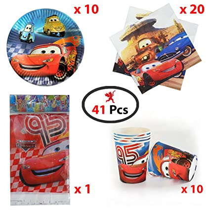 Party PropzTM MCQUEEN Cars Theme Birthday Accessories Combo Car Supplies