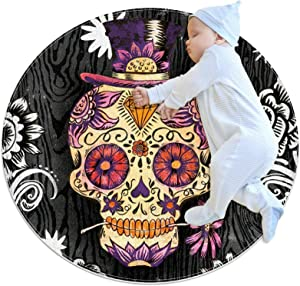 Area Rugs for Bedroom, Ultra-Luxurious Soft and Thick Non-Slip Carpet for Kids Baby Room, Nursery Modern Decor Rug 2.3Ft, Funny Sugar Skull Flower Vintage