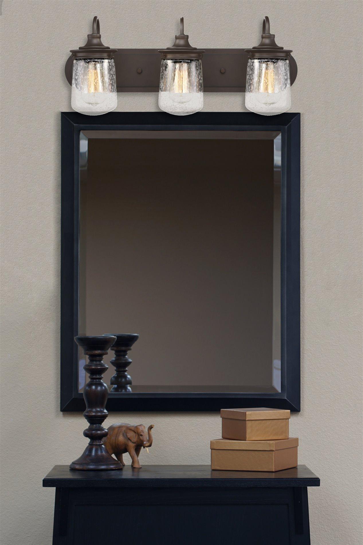 Kira Home Mason 23'' 3-Light Industrial Vanity/Bathroom Light + Seeded Glass Shade, Oil-Rubbed Bronze Finish by Kira Home (Image #5)