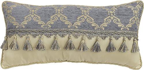 Croscill Nadia Boudoir Pillow, Light Grey