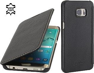 StilGut Book Type sans Clip, Housse en Cuir pour Samsung Galaxy S6 Edge+, en Noir