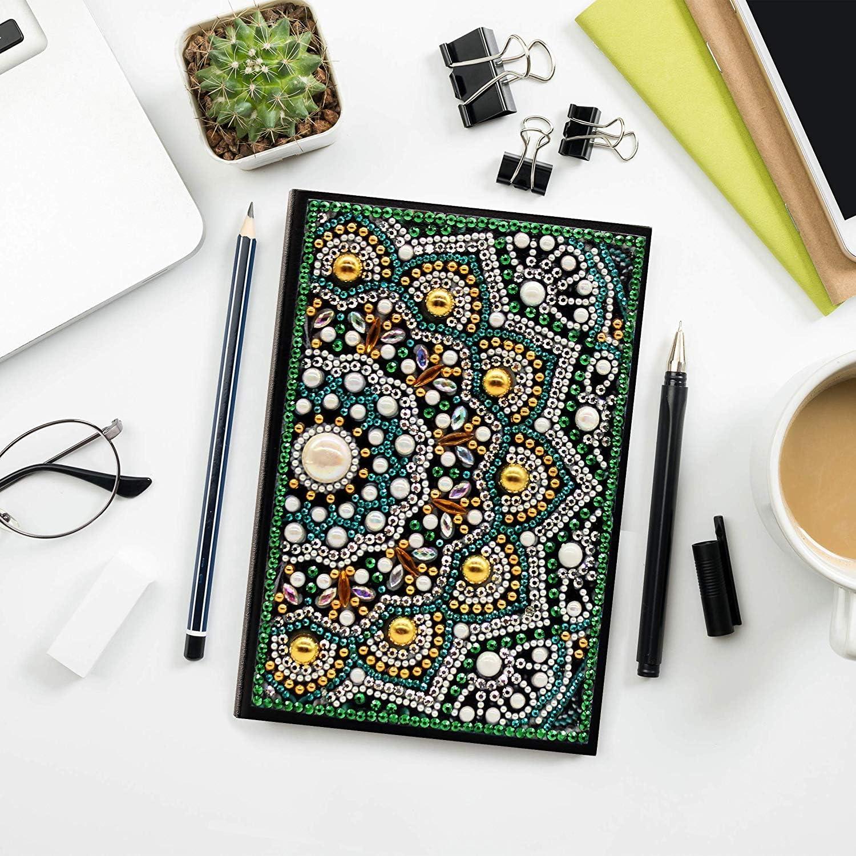 XIN QI DIY Diamant Pintura Protectora Novedad A5 Notebook Diario Libro y Metal bolígrafos Papelería Set Regalo para Mujeres niñas niños Adultos (12#): Amazon.es: Juguetes y juegos
