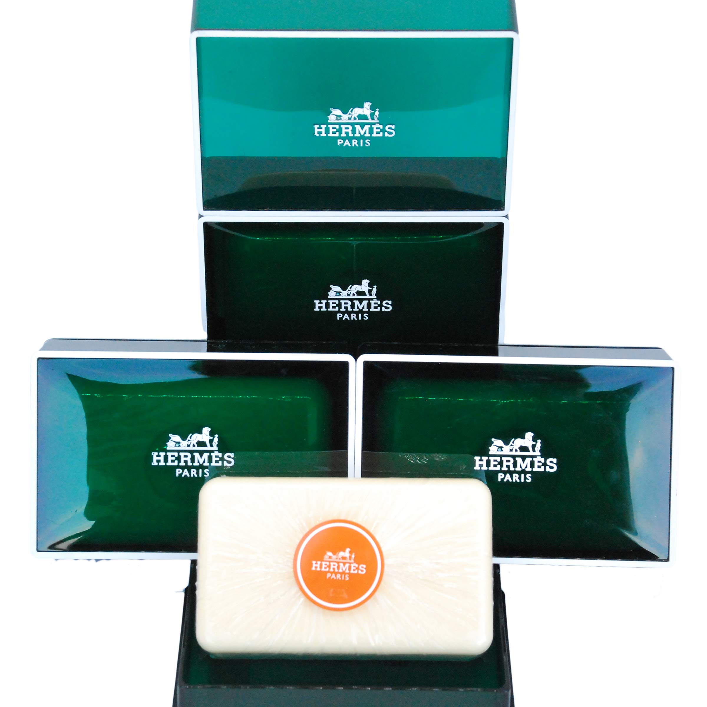 Hermès Jumbo Soaps - Eau d'Orange Verte Luxury Perfumed Gift Soaps Imported From Hermès Paris – Citrus and Mint Fragrance - 5.2 Ounces / 150 Grams - 3 Gift Boxed Perfumed Soaps / Savons Parfume in Bubble Bag – Total 15.6 Ounces / 450 Grams