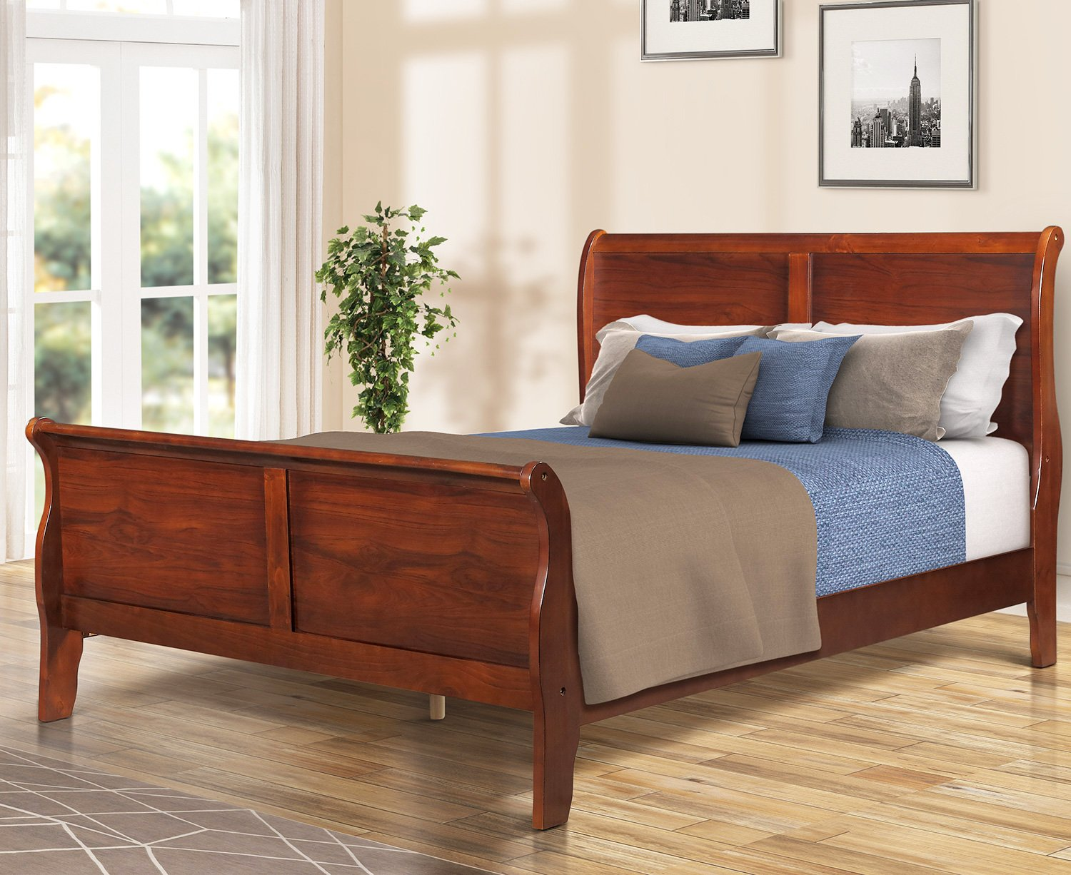 Twin Bed Frame Bunk Beds - Platform Bed Wood Walnut Queen Size Bed, Easy Assembly