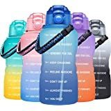 Fidus Large Half Gallon/64OZ Motivational Water Bottle with Paracord Handle & Removable Straw - BPA Free Leakproof Water Jug