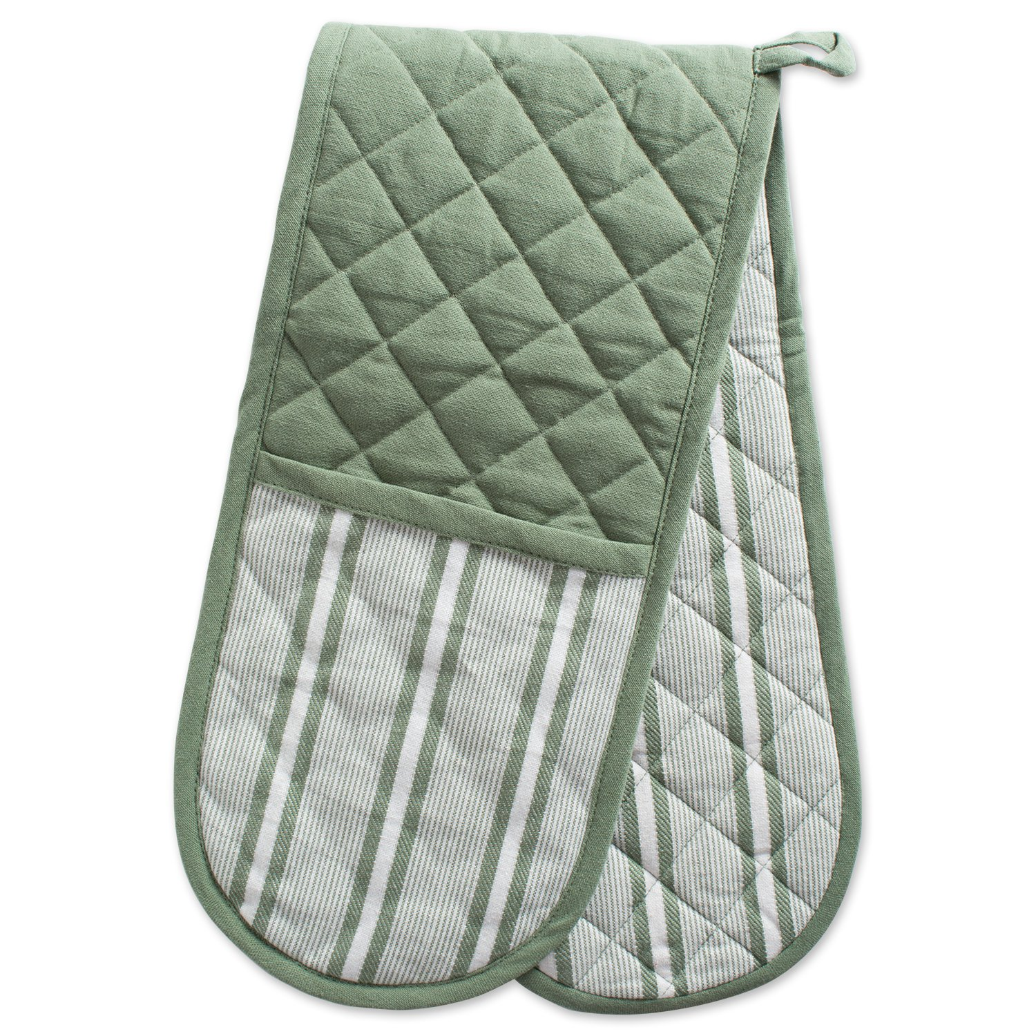 """DII Cotton Stripe Quilted Double Oven Mitt, 35 x 7.5"""", Machine Washable and Heat Resistant Kitchen Moppine for Everyday Cooking and Baking-Artichoke Green"""