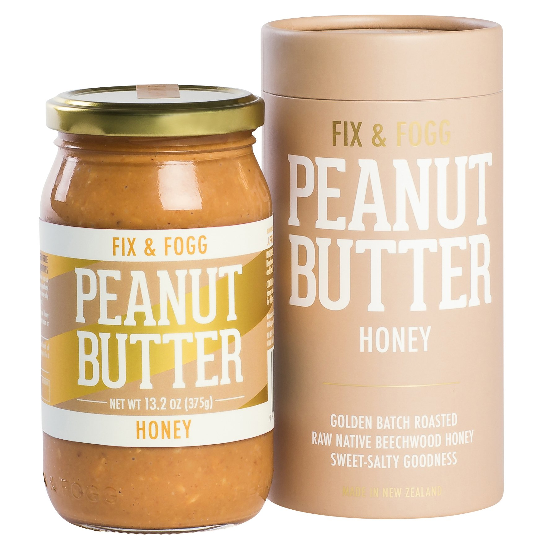 Fix & Fogg Honey Peanut Butter (13.2 oz) All Natural, Handmade, Organic NZ Honey, Golden Roasted With Glass Jar and Beautifully Designed Cardboard Gift Canister.