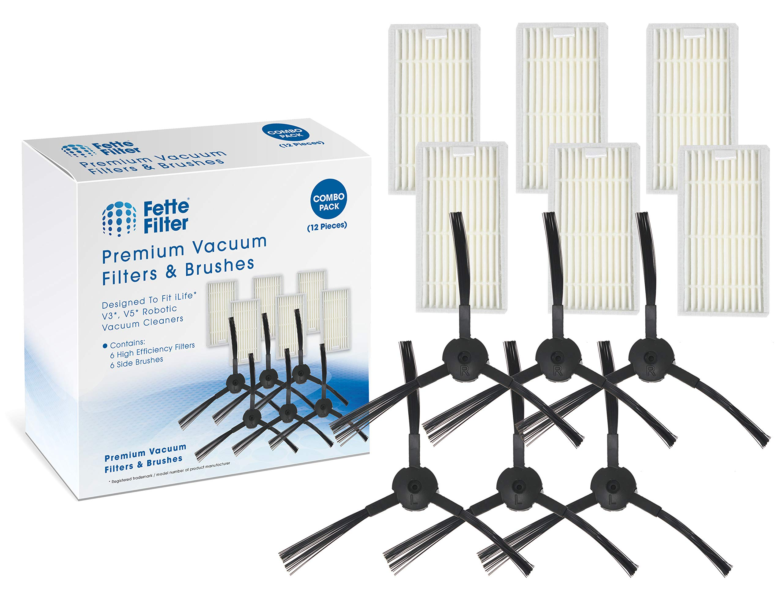 Fette Filter - Robot Vacuum Cleaner Filter & Side Brush Kit for V3 V3s V5 V5s Compatible for ILIFE. (Packs of 6)