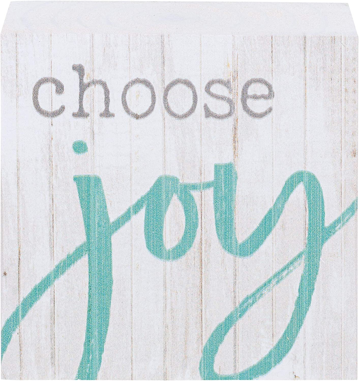 P. Graham Dunn Choose Joy Whitewash 3.5 x 3.5 Inch Pine Wood Tabletop Block Sign
