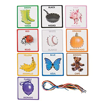 Fun Express Color Lacing Cards - 10 Pieces - Educational and Learning Activities for Kids: Toys & Games