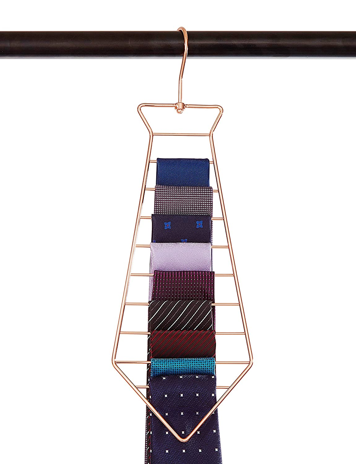 Yimai Tie Hanger Tie Organizer Updated Twirl Tie Rack Belt Hanger for Closet Organizer Storage,copper plated