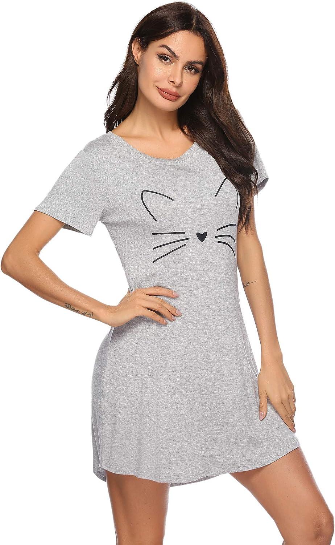 Aibrou Camicia da Notte Donna Donna Camicia da Notte Manica Corta T-Shirt Vestito Sciolto per Pigiami Casa Casual Vestito Donna Pigiama Estivo
