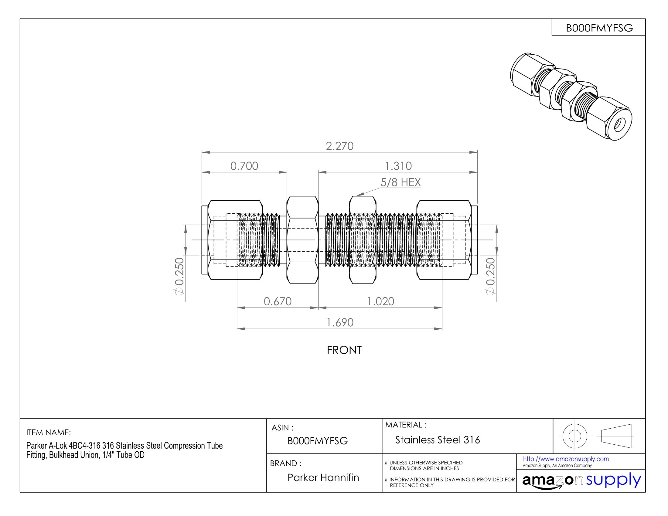 Parker A-Lok 4BC4-316 316 Stainless Steel Compression Tube Fitting, Bulkhead Union, 1/4'' Tube OD by Parker (Image #2)