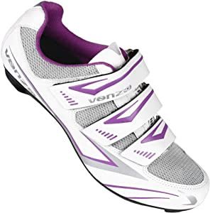 Venzo MX Bike Bicycle Women's Ladies Cycling Riding Shoes - Compatible with Peloton Shimano SPD & Look ARC Delta - Perfect for Indoor Spin Road Racing Indoor Exercise Bikes