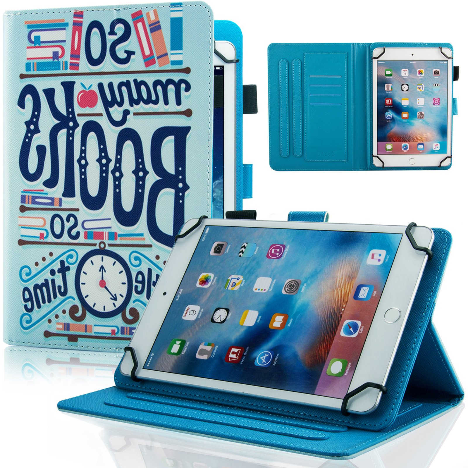 Universal Case for 6.5-7.5 inch Tablet, Dteck Slim Light PU Leather Protective Case with Card Slots Cute Cartoon Flip Stand Wallet Cover for All 6.5-7.5 inch iPad Android Windows Tablet,Book