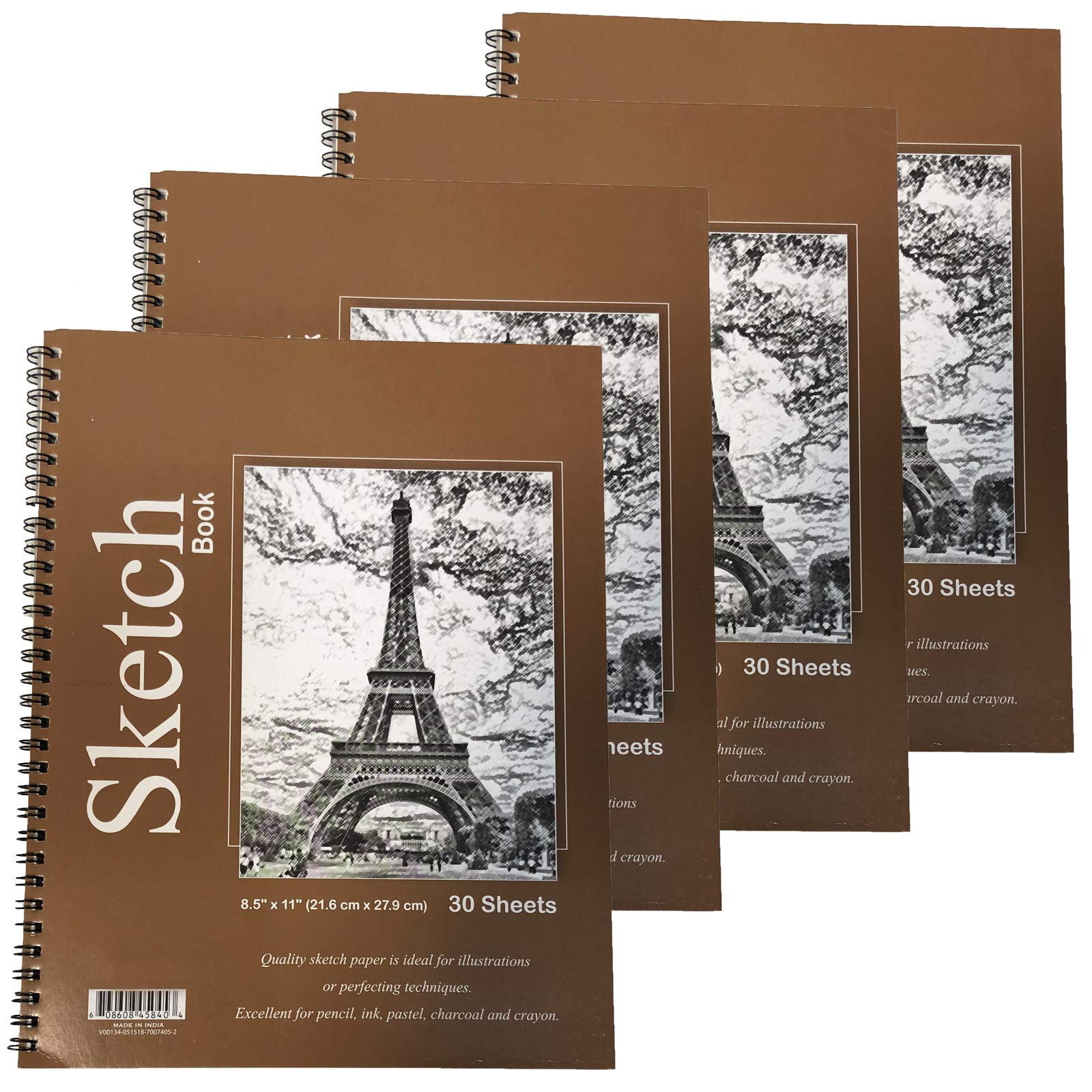 GIFTEXPRESS Bound Spiral Premium Sketch Book Sketch Pads Set, 4 pads x30-Sheets, 8.5'' X 11'' Side Wire Bound, white 120 Paper Sheets for Pencil Ink Pastel by GIFTEXPRESS