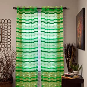 Lavish Home Sonya Grommet Single Curtain Panel, 95-Inch, Green