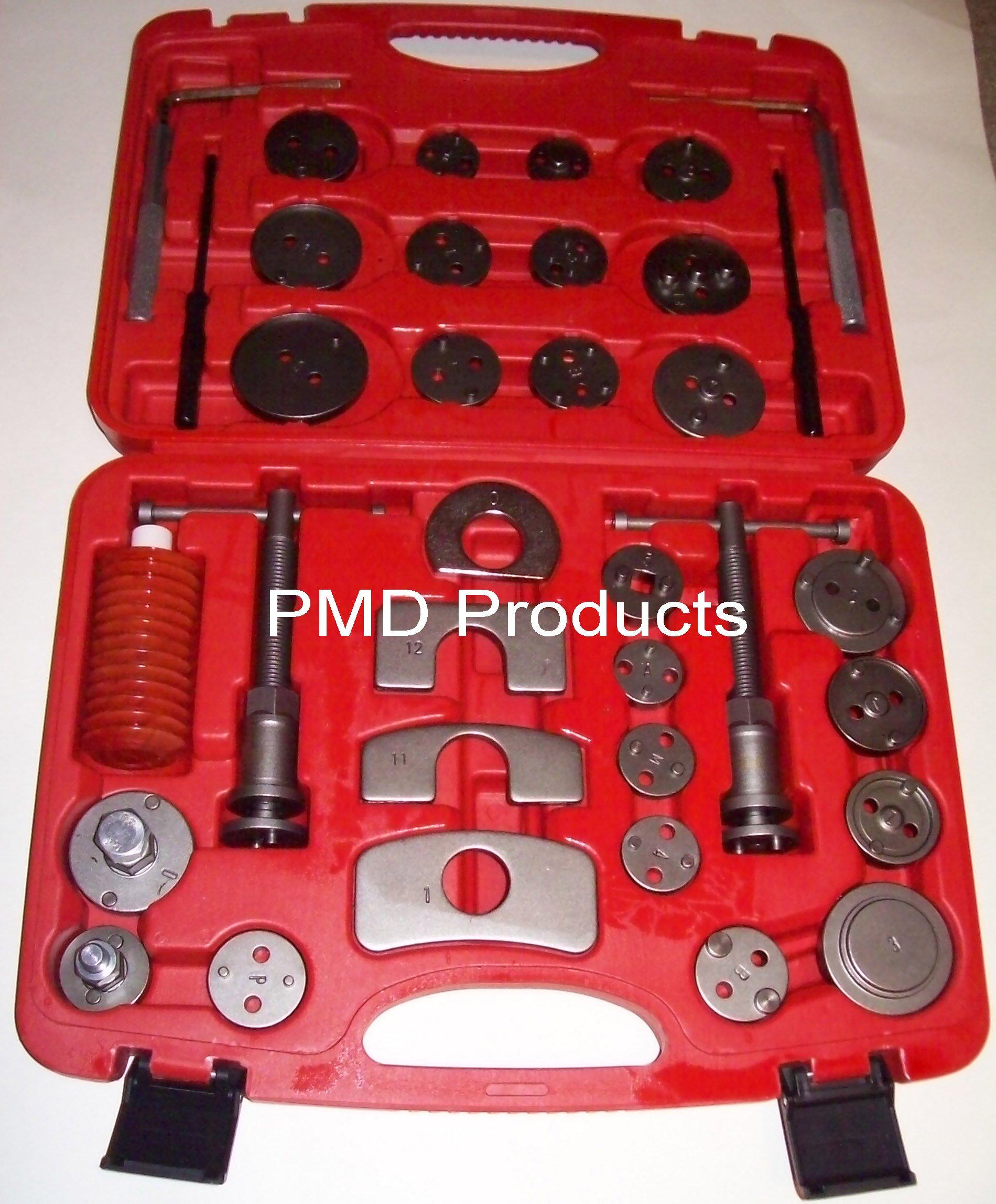 Disc Brake Caliper Piston Compressor Windback Wind Back Pad Tool 35pc W/case