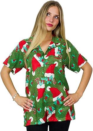 Original King Kameha | Funky Camisa Hawaiana Mujeres |XS-6XL | Manga Corta Bolsillo Delantero | impresión De Hawaii| Gorro navideño: Amazon.es: Ropa y accesorios