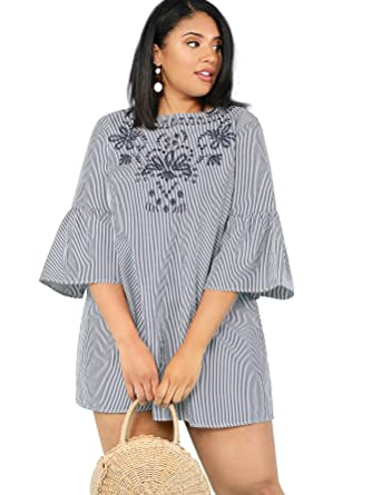f9e8e8283cd5 Floerns Women's Plus Size Bell Sleeve Embroidery Pinstripe Dress at Amazon  Women's Clothing store: