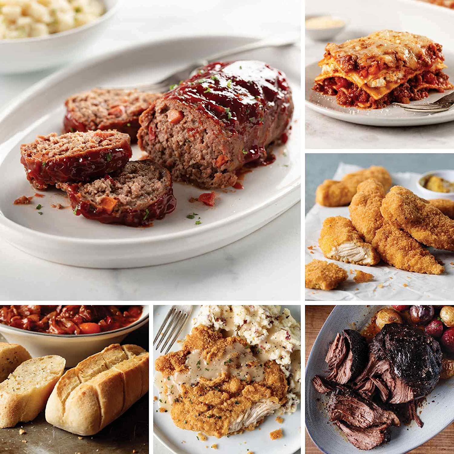 Easy Comfort Favorites from Omaha Steaks (Homestyle Meatloaf, Mini Baguettes with Garlic Butter, Chicken Fried Chicken, Fully Cooked Pot Roast, Italian Chicken Fingers, and more)