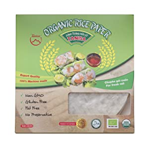 Tanisa Organic Spring Roll Rice Paper Wrapper for Fresh roll (22cm, Round, 12 oz)