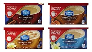 Maxwell House International Cafe 4-Can Variety Bundle includes 1-Can Hazelnut, 9 oz + 1-Can French Vanilla, 4 oz + 1-Can Vanilla Caramel, 8.7 oz + 1-Can Cafe Vienna, 9 oz