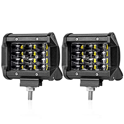 LED Pods, Wayup 2Pcs 4 Inch 72W Quad Row LED Cubes Light OSRAM Off Road Work Light Flood Beam LED Driving Lights Waterproof Fog Light for Trucks Jeep Bumper ATV UTV Boat 4x4, 2 Years Warranty: Automotive