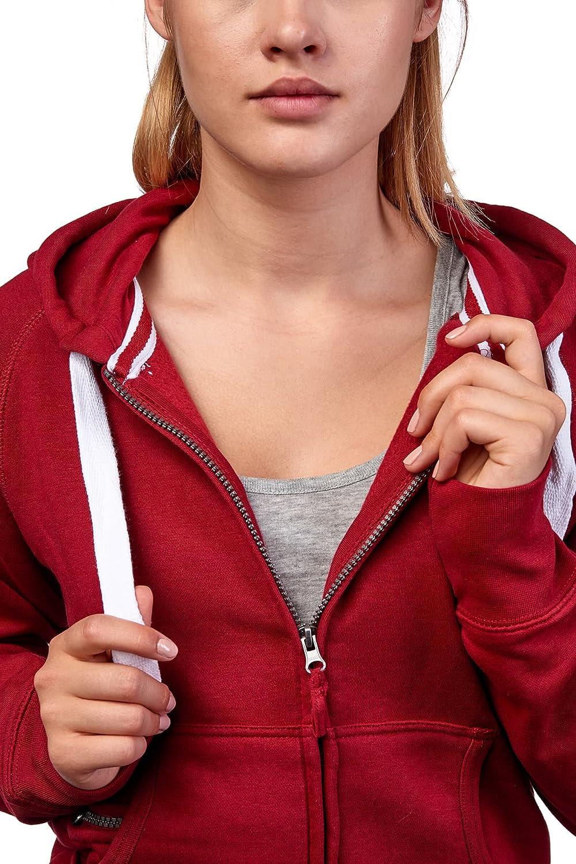 Maniche e zip Happy Clothing Felpa con Cappuccio donna e Tasche basic tinta unita