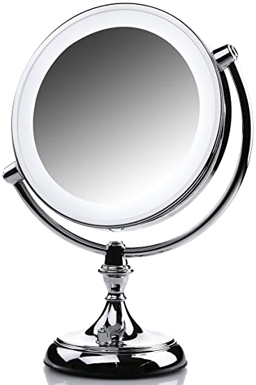 Ovente Makeup Mirror LED Lighted  1x 10x Magnification  9 5 Inch  Polished  Chrome. Amazon com   Ovente Makeup Mirror LED Lighted  1x 10x