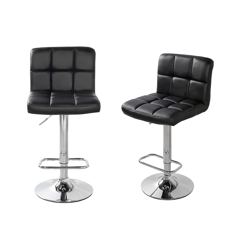Primo International 31474 Stephen Faux Leather Adjustable Bar Stool, Set of 2, Black, Black